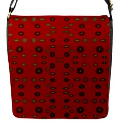 Brown Circle Pattern On Red Flap Messenger Bag (s) by BrightVibesDesign
