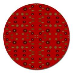 Brown Circle Pattern On Red Magnet 5  (round) by BrightVibesDesign