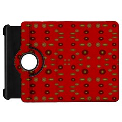 Brown Circle Pattern On Red Kindle Fire Hd 7  by BrightVibesDesign