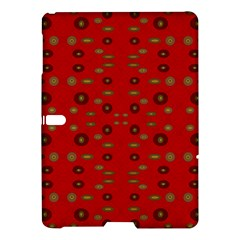 Brown Circle Pattern On Red Samsung Galaxy Tab S (10 5 ) Hardshell Case  by BrightVibesDesign
