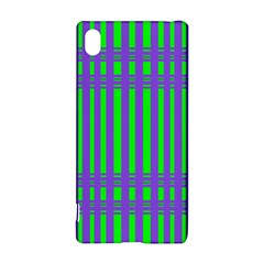 Bright Green Purple Stripes Pattern Sony Xperia Z3+ by BrightVibesDesign