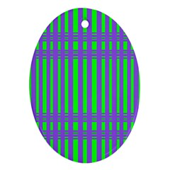 Bright Green Purple Stripes Pattern Ornament (oval) by BrightVibesDesign