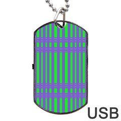 Bright Green Purple Stripes Pattern Dog Tag Usb Flash (two Sides) by BrightVibesDesign