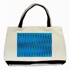 Sharp Blue And Black Wave Pattern Basic Tote Bag by Celenk
