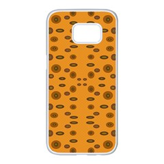 Brown Circle Pattern On Yellow Samsung Galaxy S7 Edge White Seamless Case by BrightVibesDesign
