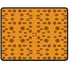 Brown Circle Pattern On Yellow Fleece Blanket (medium)  by BrightVibesDesign