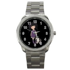 Dolly Girl And Dog Sport Metal Watch by Valentinaart