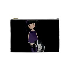 Dolly Girl And Dog Cosmetic Bag (medium)  by Valentinaart