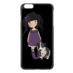 Dolly Girl And Dog Apple Iphone 6 Plus/6s Plus Black Enamel Case by Valentinaart