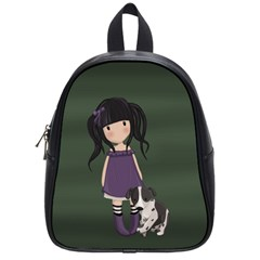 Dolly Girl And Dog School Bag (small) by Valentinaart