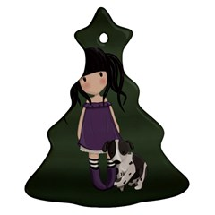 Dolly Girl And Dog Christmas Tree Ornament (two Sides) by Valentinaart