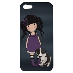 Dolly Girl And Dog Apple Iphone 5 Hardshell Case by Valentinaart
