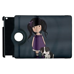 Dolly Girl And Dog Apple Ipad 2 Flip 360 Case by Valentinaart
