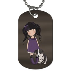 Dolly Girl And Dog Dog Tag (two Sides) by Valentinaart