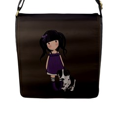 Dolly Girl And Dog Flap Messenger Bag (l)  by Valentinaart