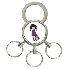 Dolly Girl And Dog 3 Ring Key Chains by Valentinaart