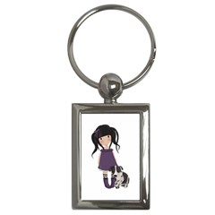 Dolly Girl And Dog Key Chains (rectangle)  by Valentinaart