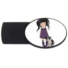 Dolly Girl And Dog Usb Flash Drive Oval (4 Gb) by Valentinaart