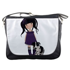 Dolly Girl And Dog Messenger Bags by Valentinaart