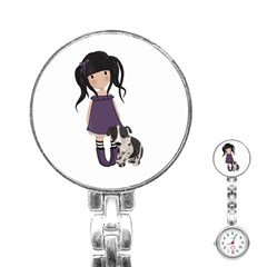 Dolly Girl And Dog Stainless Steel Nurses Watch by Valentinaart