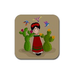 Frida Kahlo Doll Rubber Square Coaster (4 Pack)  by Valentinaart