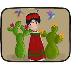 Frida Kahlo Doll Double Sided Fleece Blanket (mini)  by Valentinaart