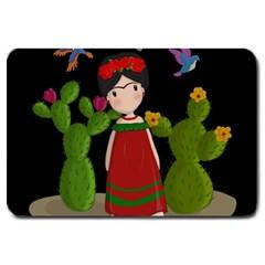 Frida Kahlo Doll Large Doormat  by Valentinaart