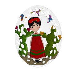 Frida Kahlo Doll Oval Filigree Ornament (two Sides) by Valentinaart