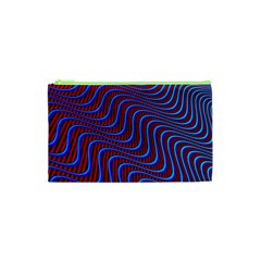 Wave Pattern Background Curves Cosmetic Bag (xs) by Celenk