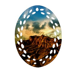Mountain Sky Landscape Nature Oval Filigree Ornament (two Sides) by Celenk