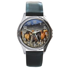 Horses Stampede Nature Running Round Metal Watch by Celenk
