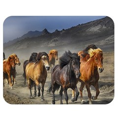 Horses Stampede Nature Running Double Sided Flano Blanket (medium)  by Celenk