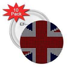 Union Jack Flag British Flag 2 25  Buttons (10 Pack)  by Celenk