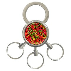 Chilli Pepper Spicy Hot Red Spice 3 Ring Key Chains by Celenk