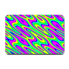 Lilac Yellow Wave Abstract Pattern Small Doormat  by Celenk