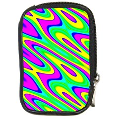 Lilac Yellow Wave Abstract Pattern Compact Camera Cases by Celenk