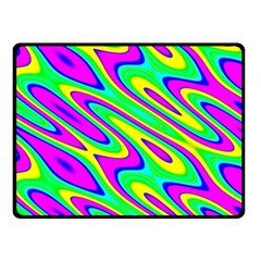 Lilac Yellow Wave Abstract Pattern Fleece Blanket (small) by Celenk
