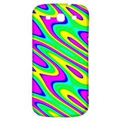 Lilac Yellow Wave Abstract Pattern Samsung Galaxy S3 S Iii Classic Hardshell Back Case