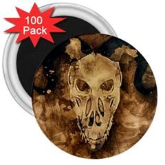 Skull Demon Scary Halloween Horror 3  Magnets (100 Pack) by Celenk