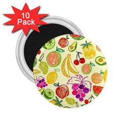 Cute Fruits Pattern 2 25  Magnets (10 Pack)  by paulaoliveiradesign