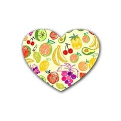 Cute Fruits Pattern Rubber Coaster (heart)  by paulaoliveiradesign