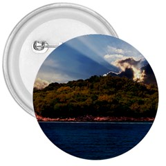 Island God Rays Sky Nature Sea 3  Buttons by Celenk