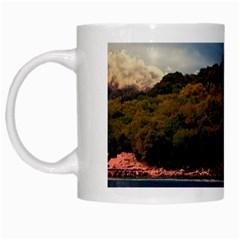 Island God Rays Sky Nature Sea White Mugs by Celenk