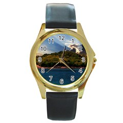 Island God Rays Sky Nature Sea Round Gold Metal Watch by Celenk