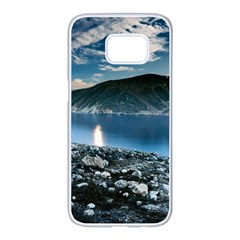 Shore Mountain Water Landscape Samsung Galaxy S7 Edge White Seamless Case by Celenk