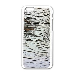 Wood Knot Fabric Texture Pattern Rough Apple Iphone 6/6s White Enamel Case by Celenk