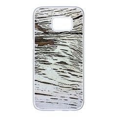 Wood Knot Fabric Texture Pattern Rough Samsung Galaxy S7 Edge White Seamless Case