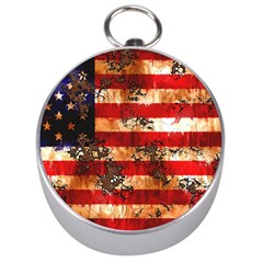 American Flag Usa Symbol National Silver Compasses by Celenk