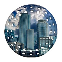 Tower Blocks Skyscraper City Modern Round Filigree Ornament (two Sides) by Celenk