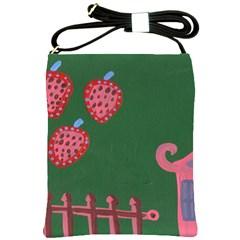 Floating Strawberries Shoulder Sling Bags by snowwhitegirl